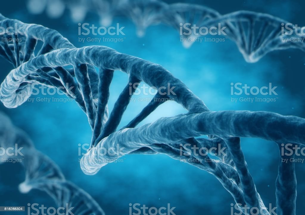 3D Rendering DNA strand stock photo