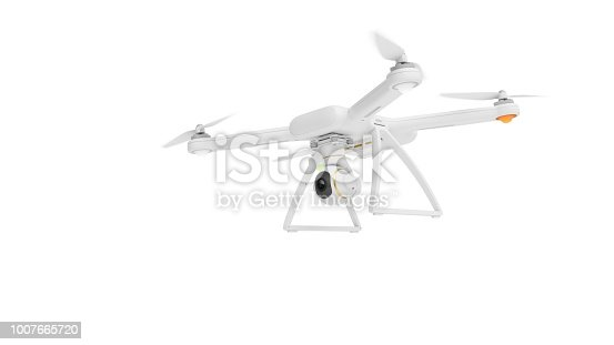 istock 3D Rendering Drone isolated on white background 1007665720