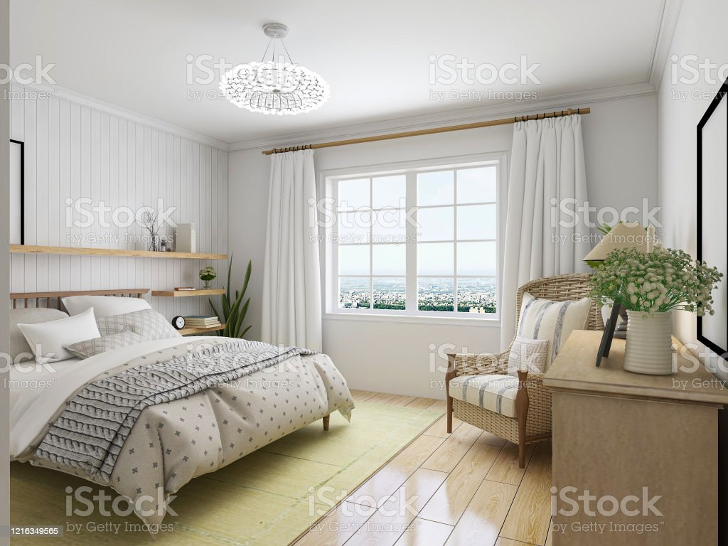 3d Rendering Elegant And Spacious Bedroom Design Of Modern Apartment Overcoat Cabinet Beside The Big Bed With Dressing Table And Green Plants Stock Photo Download Image Now Istock