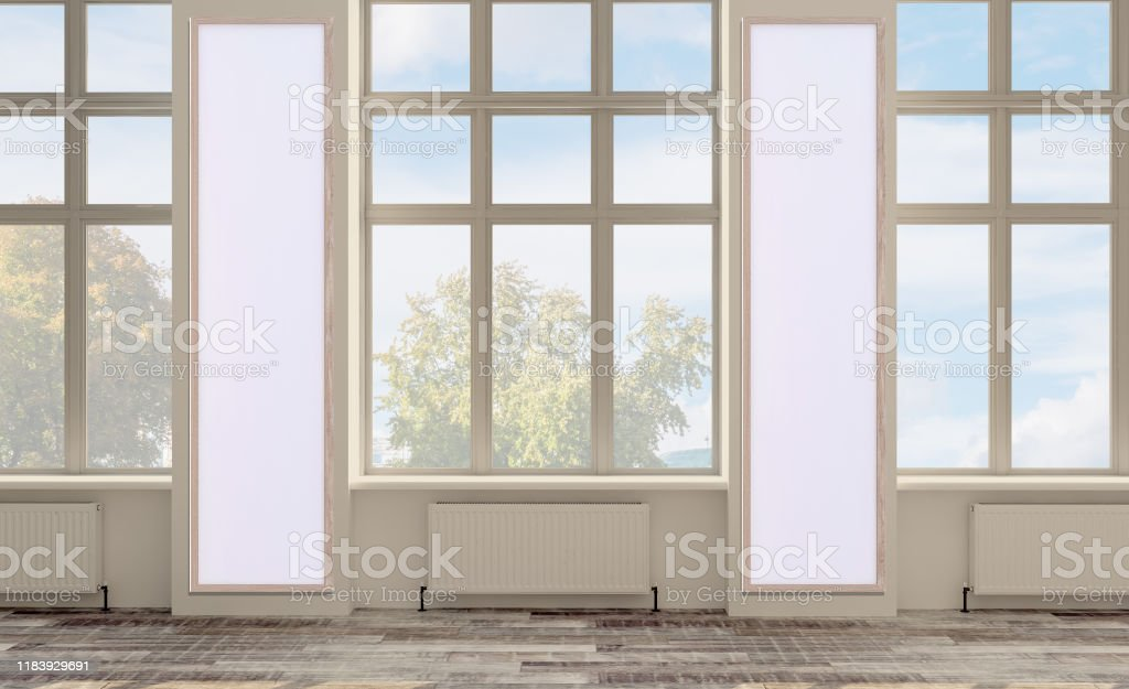 3d Rendering Empty Office Space Open Space Walls In Bright Colors Large Panoramic Windows Mockup Picture Stock Photo Download Image Now Istock