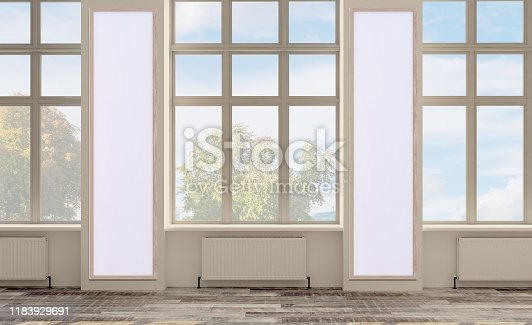 3D rendering, empty office space. open space. walls in bright colors. large panoramic windows., Mockup picture