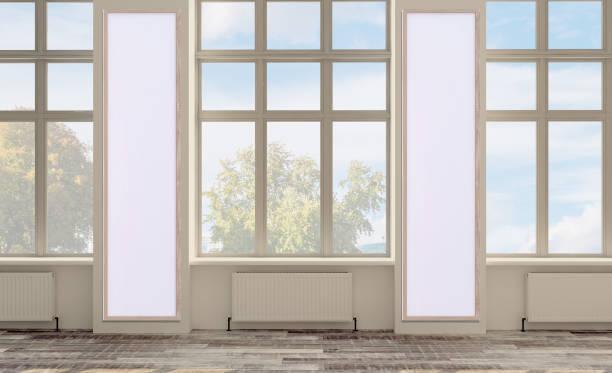 Renderização 3D, espaço de escritório vazio. espaço aberto. paredes em cores brilhantes. grandes janelas panorâmicas., Imagem mockup - foto de acervo