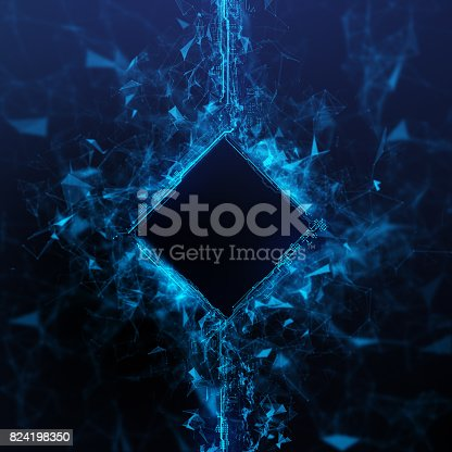 istock Rendering Energy Cube Hologram on black background 824198350