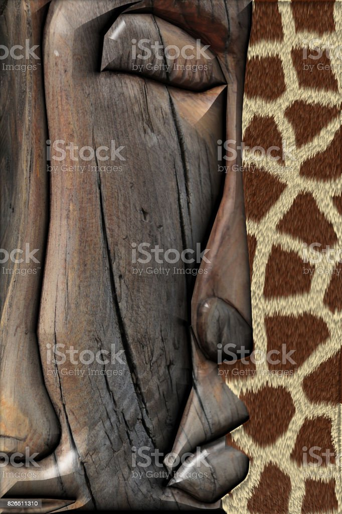 3D Rendering. Ethnic Wooden Totem stock photo