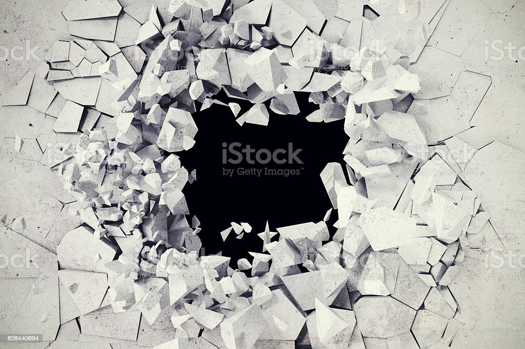 rendering, explosion, broken concrete wall, bullet hole, destruction, abstract background. stock photo