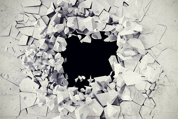rendering, explosion, broken concrete wall, bullet hole, destruction, abstract background. - foto de stock
