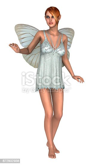 3D digital render of a cute white fairy butterfly isolated on white background