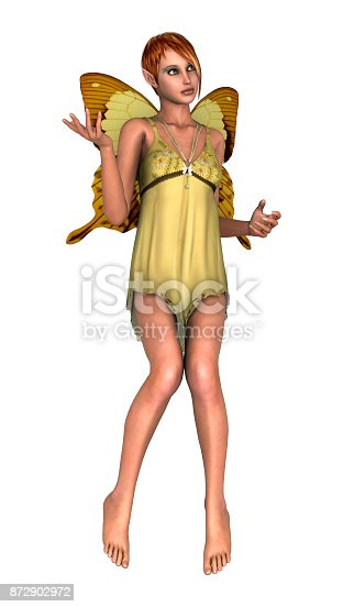 3D digital render of a cute yellow fairy butterfly isolated on white background