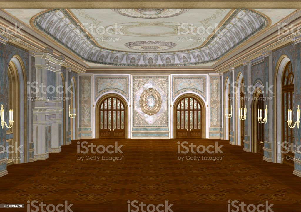 3D Rendering Fairy Tale Ballroom stock photo