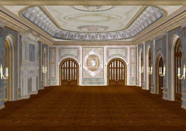 3d-rendering märchen ballsaal - alten kronleuchter stock-fotos und bilder