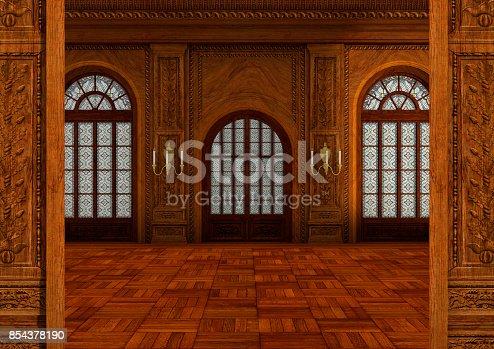 istock 3D rendering fairy tale ballroom 854378190