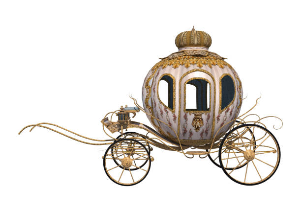 3d 渲染童話灰姑娘的馬車上白 - 載客馬車 個照片及圖片檔
