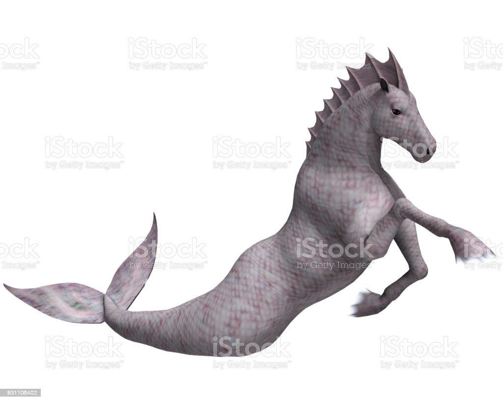 3D Rendering Fairy Tale Hippocampus or Mermaid's Horse stock photo