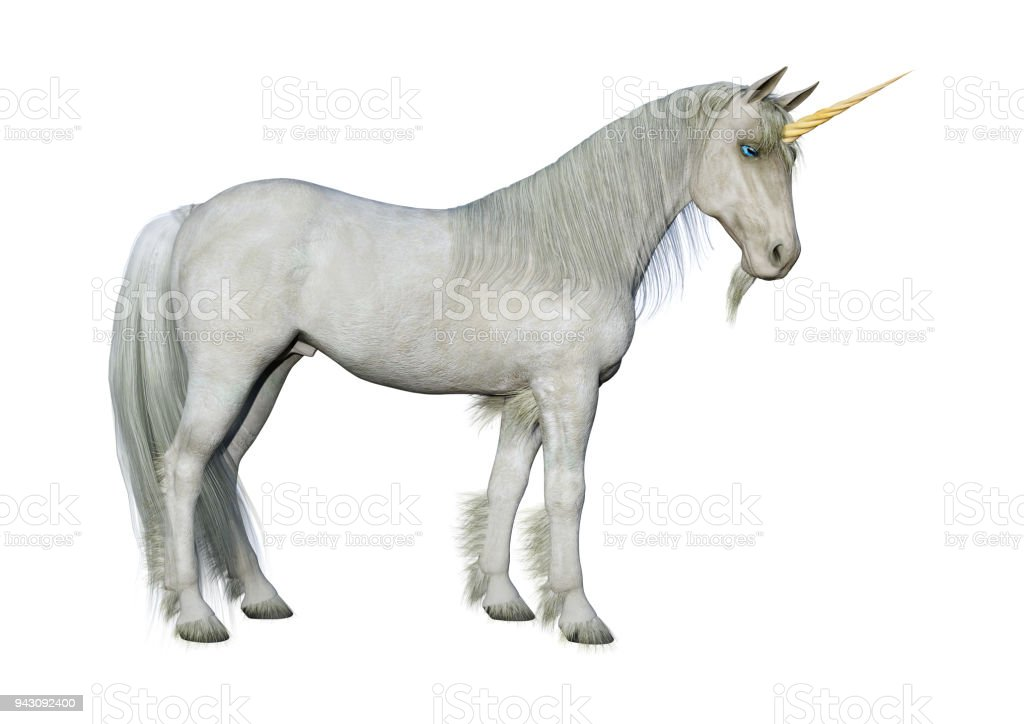 3D rendering fairy tale white unicorn on white stock photo