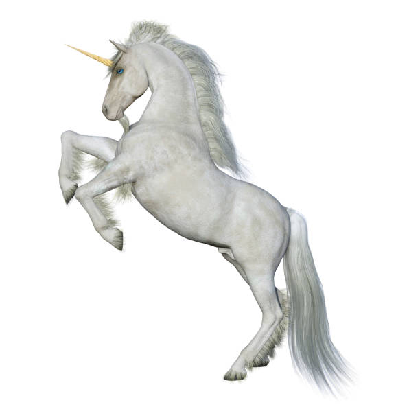 3d rendering fairy tale white unicorn on white - unicorns stock photos and pictures