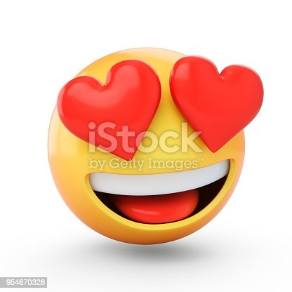 istock 3D Rendering falling in love emoji isolated on white background 954670328