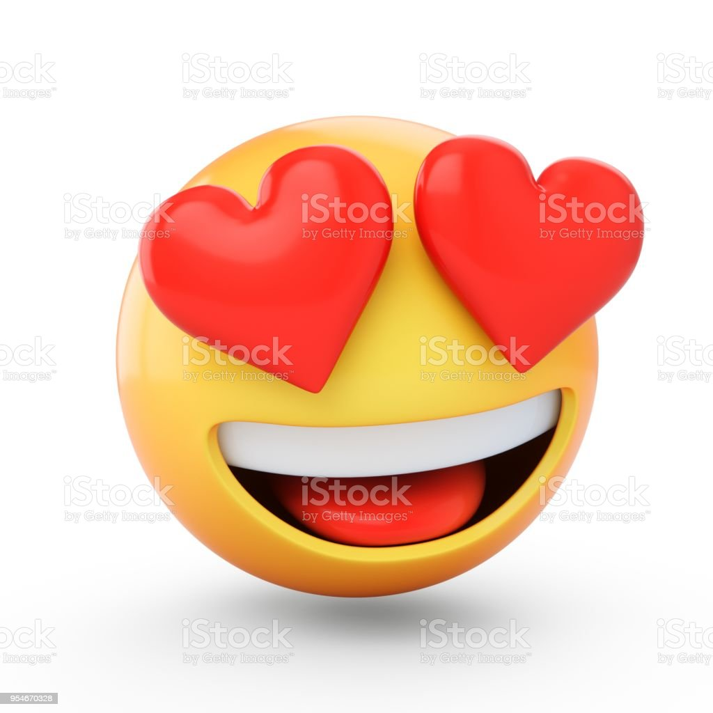 3D Rendering falling in love emoji isolated on white background stock photo
