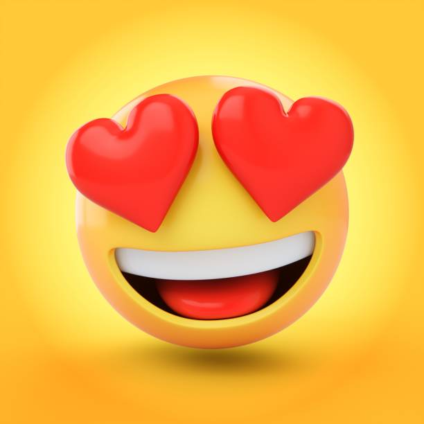 3d rendering falling in love emoji isolated on yellow background - emoji foto e immagini stock