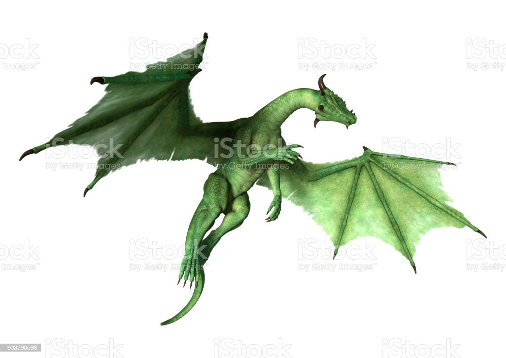 3D rendering fantasy dragon on white stock photo