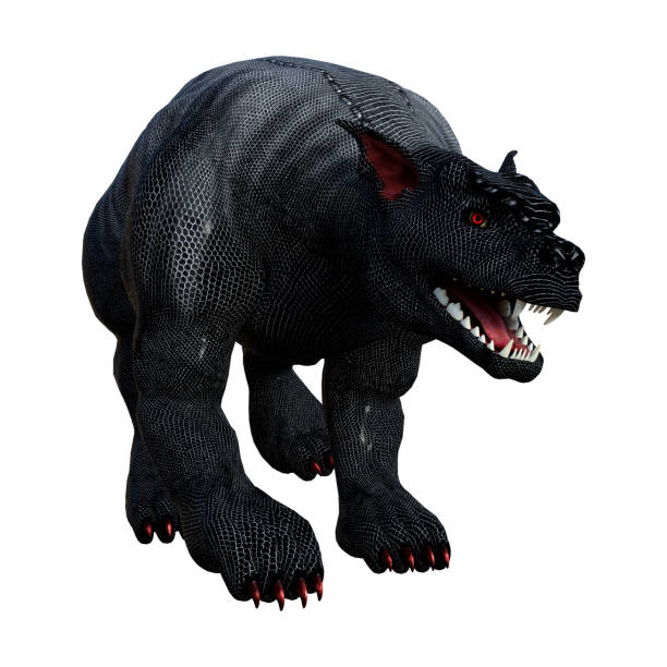 3d rendering fantasy gargoyle hound on white - demon fictional character stock photos and pictures