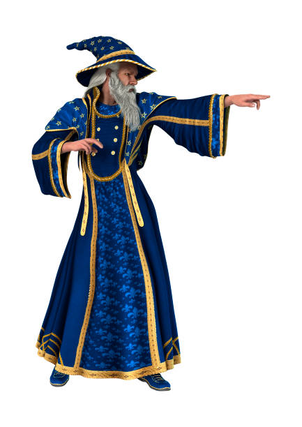 3D rendering fantasy wizard on white stock photo