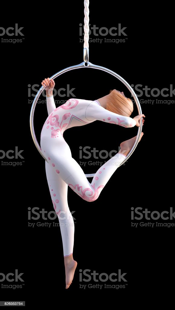 3D Rendering Female Circus Performer on White stock photo