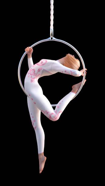 3d-rendering weiblich zirkuskünstler auf weiß - trapez stock-fotos und bilder