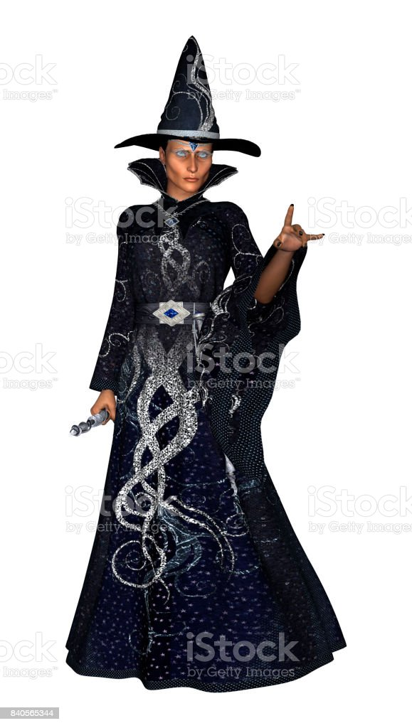 3D Rendering Female Wizard on White stock photo