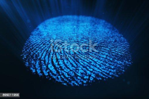 istock 3D rendering Fingerprint Scanning Identification System. Fingerprint scan provides security access. 899011956