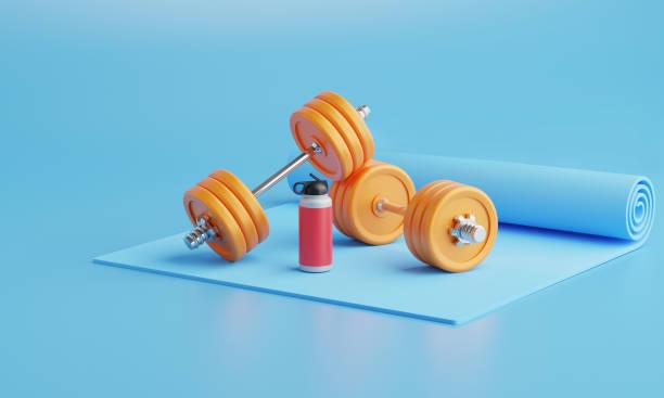 3d rendering fitness equipment on color  background. - attrezzatura per esercizi foto e immagini stock
