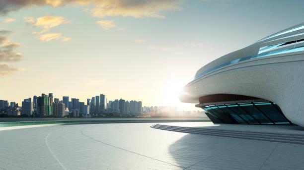 3D rendering futuristic architecture stock photo