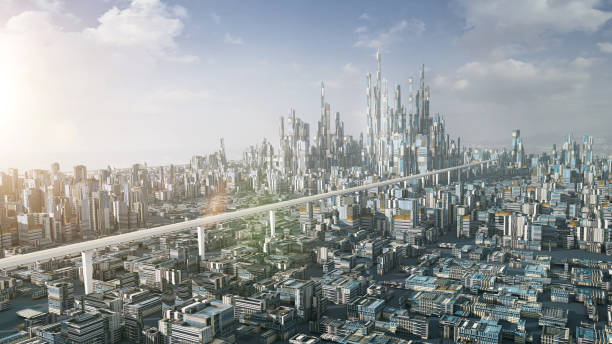 3 d レンダリング未来派都市 - 未来都市 ストックフォトと画像