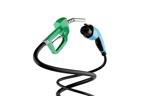 istock 3D rendering Gas Nozzle VS Electric Vehicle Charging Plug isolate on white background. 1189121082