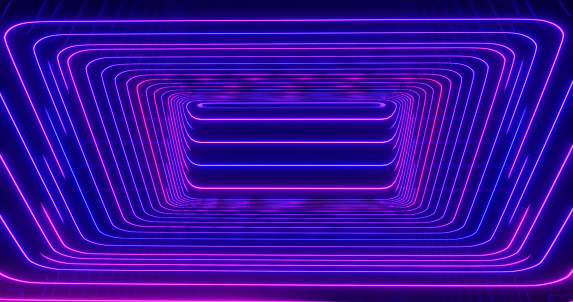1033058616 istock photo 3D Rendering. Geometric figure in neon light against a dark tunnel. Laser glow. 1041846510