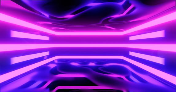 1033058616 istock photo 3D Rendering. Geometric figure in neon light against a dark tunnel. Laser glow. 1041846516