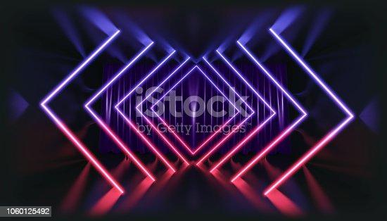 1060125518 istock photo 3D Rendering. Geometric figure in neon light against a dark tunnel. Laser glow. 1060125492