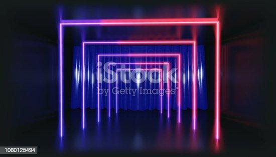 1060125518 istock photo 3D Rendering. Geometric figure in neon light against a dark tunnel. Laser glow. 1060125494