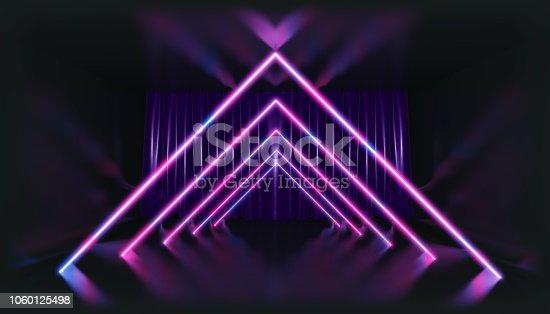1060125518 istock photo 3D Rendering. Geometric figure in neon light against a dark tunnel. Laser glow. 1060125498
