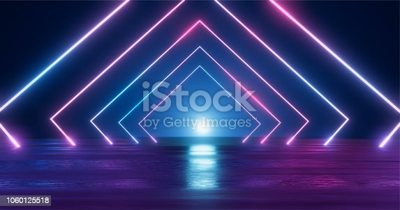 istock 3D Rendering. Geometric figure in neon light against a dark tunnel. Laser glow. 1060125518