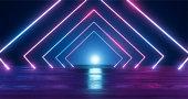 3D Rendering. Geometric figure in neon light against a dark tunnel. Laser glow.
