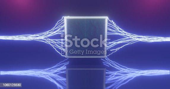 1060125518 istock photo 3D Rendering. Geometric figure in neon light against a dark tunnel. Laser glow. 1060125530
