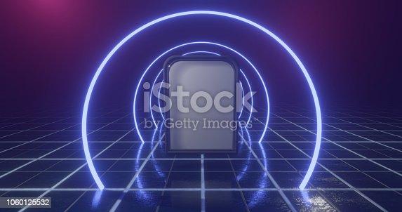 1060125518 istock photo 3D Rendering. Geometric figure in neon light against a dark tunnel. Laser glow. 1060125532