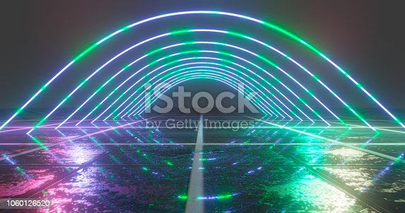 1060125518 istock photo 3D Rendering. Geometric figure in neon light against a dark tunnel. Laser glow. 1060126520