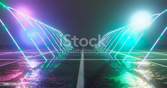 1060125518 istock photo 3D Rendering. Geometric figure in neon light against a dark tunnel. Laser glow. 1060126544