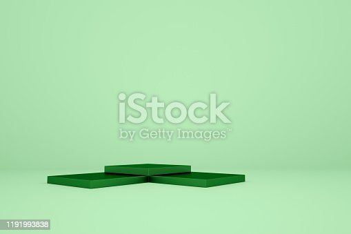 1049530612 istock photo 3D rendering geometry with green square platform background 1191993838