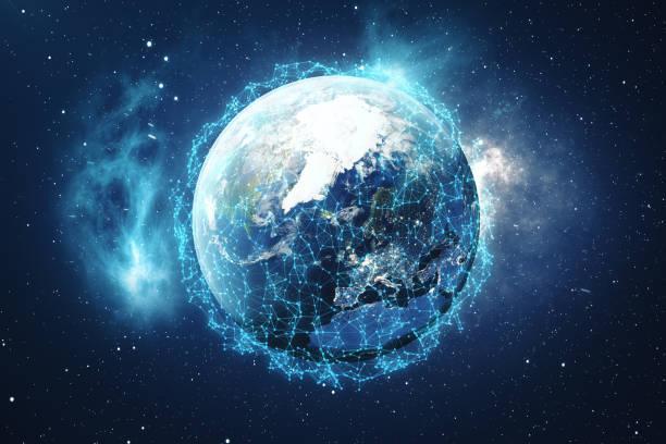 3d-rendering wereldwijd netwerk achtergrond. verbindingslijnen met puntjes rond earth globe. globale internationale connectiviteit. aarde vanuit de ruimte met sterren en nevel. elementen van dit beeld ingericht door nasa. - ecosysteem stockfoto's en -beelden
