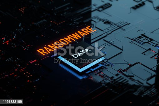 3D rendering Glowing text Ransomware attack on Computer Chipset. spyware, malware, virus Trojan, hacker attack Concept