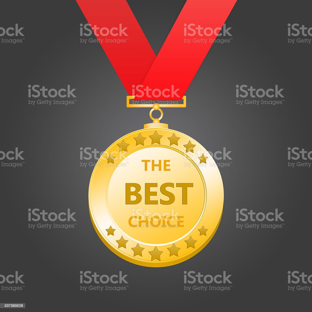 3D rendering gold medal stock photo