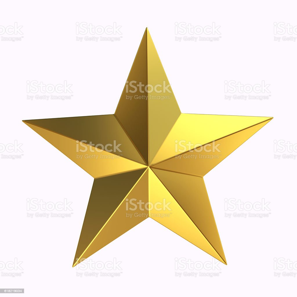 3D Rendering Gold star on white background stock photo