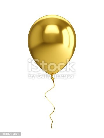 istock 3D Rendering golden Balloon Isolated on white Background 1004824610